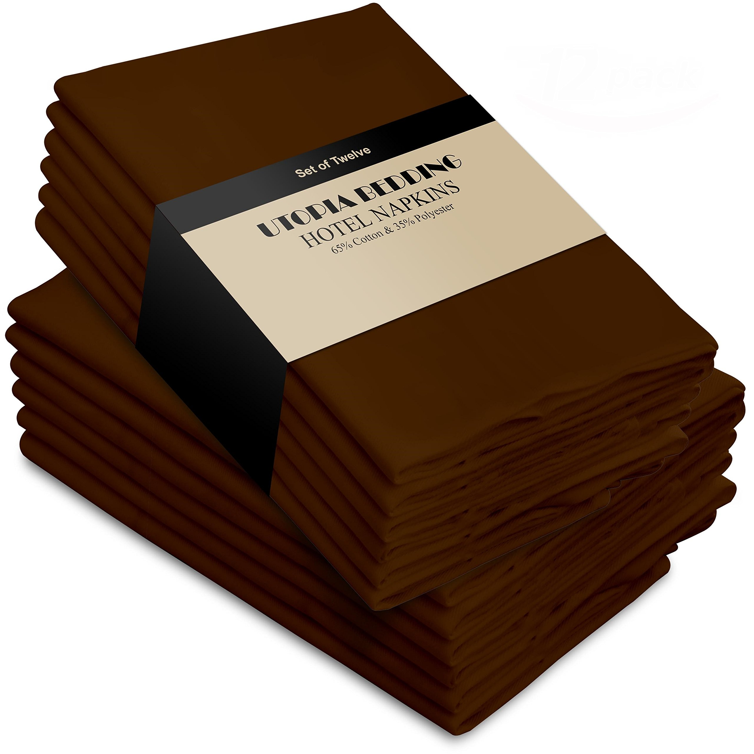 Utopia Bedding Cotton Dinner Napkins - Cocoa Brown - 12 Pack (18 inches x 18 inches) - Soft Comfortable - Durable Hotel Quality - Ideal Events Regular Home Use