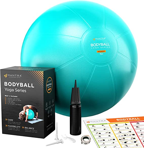 Pelota de Pilates | Balón de Ejercicio | Bola de Embarazada, Yoga, Fitness y Gimnasio - 55cm / 65cm / 75cm Fitball Silla Equilibrio – Extra Gruesa, ...