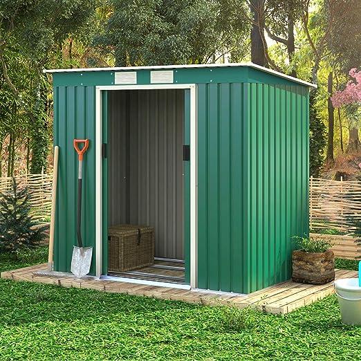CASART. Cobertizo de jardín de Metal para Herramientas de Almacenamiento, Resistente al Agua y al óxido, para Exterior, 7 x 4 pies, Hoja galvanizada para Patio con Puerta corredera Doble: Amazon.es: Jardín