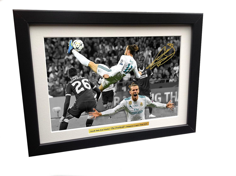 KICKS Gareth Bale 12x 8A4firmato l' obiettivo Overhead–finale di Champions League 2018–Real Madrid 3VS Liverpool 2, 5cm–fotografia autografato foto cornice regalo