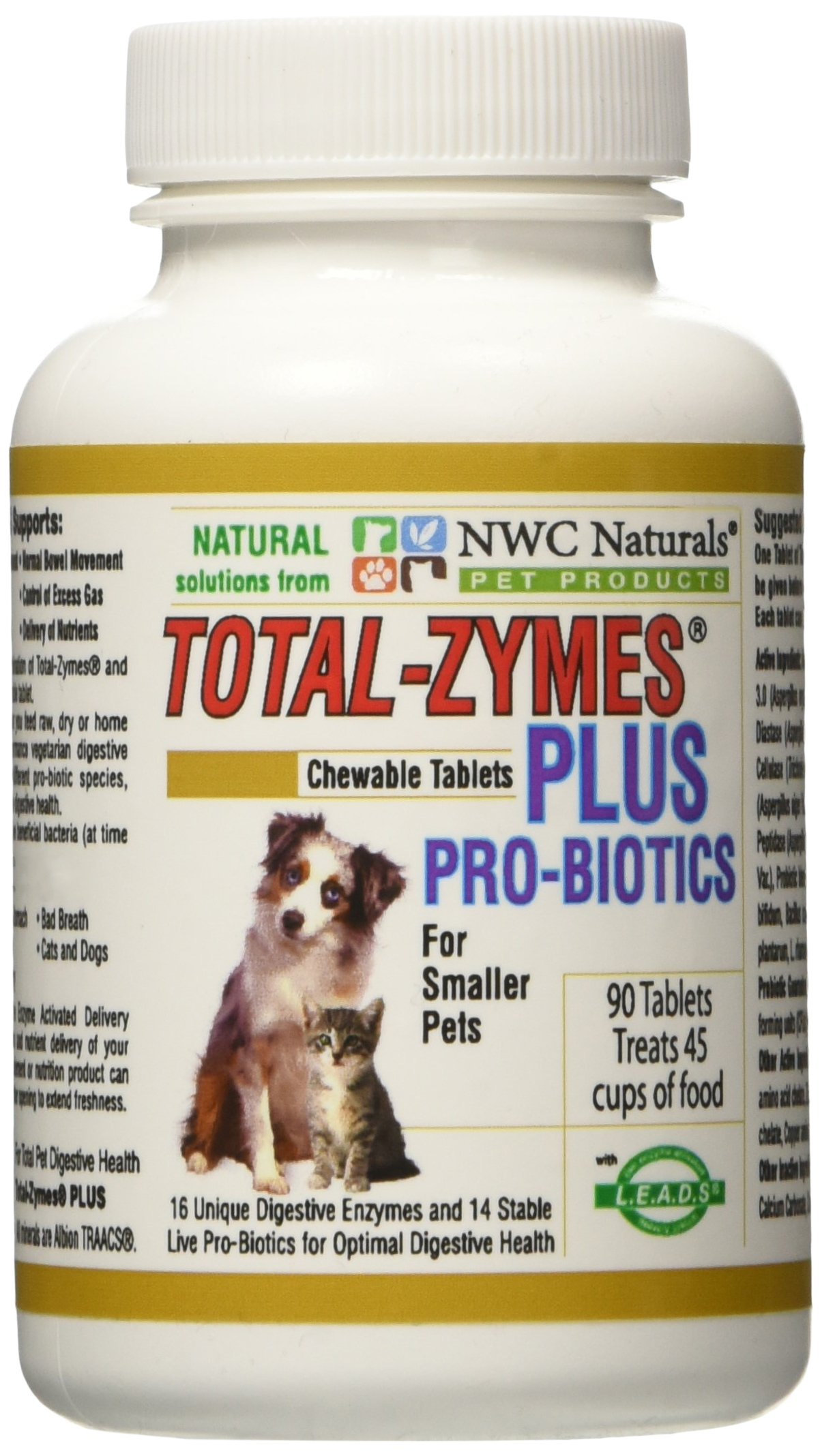 NWC Naturals Total-Zymes Plus - 90 Tablets (1 tablet treats 1/2 cup of pet food) Enzymes and Probiotics for smaller Dogs and Cats