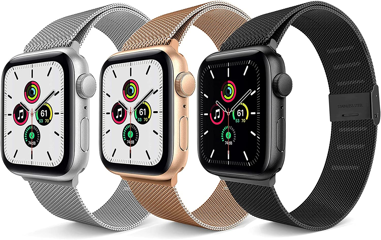 3 Pack Compatible with Apple Watch Band 38mm 40mm 42mm 44mm,Adjustable Stainless Steel Mesh Loop Replacement Wristband Strap Bracelet Compatible for iWatch Series 6/5/4/3/2/1 SE