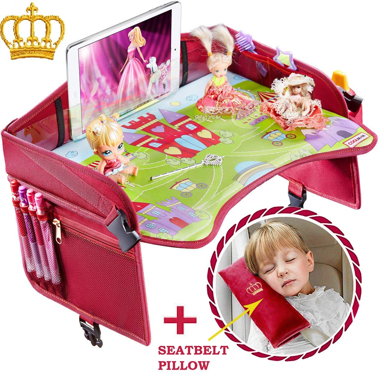 Travel Tray – Ideal as Kids Travel Tray – Toddler Travel Tray & Baby Stroller Tray – Travel Activity Tray & Play Tray – Baby Snack Tray & Kid's Car Seat Tray - Play Table (Premium Red/Pink) Home Innovations group