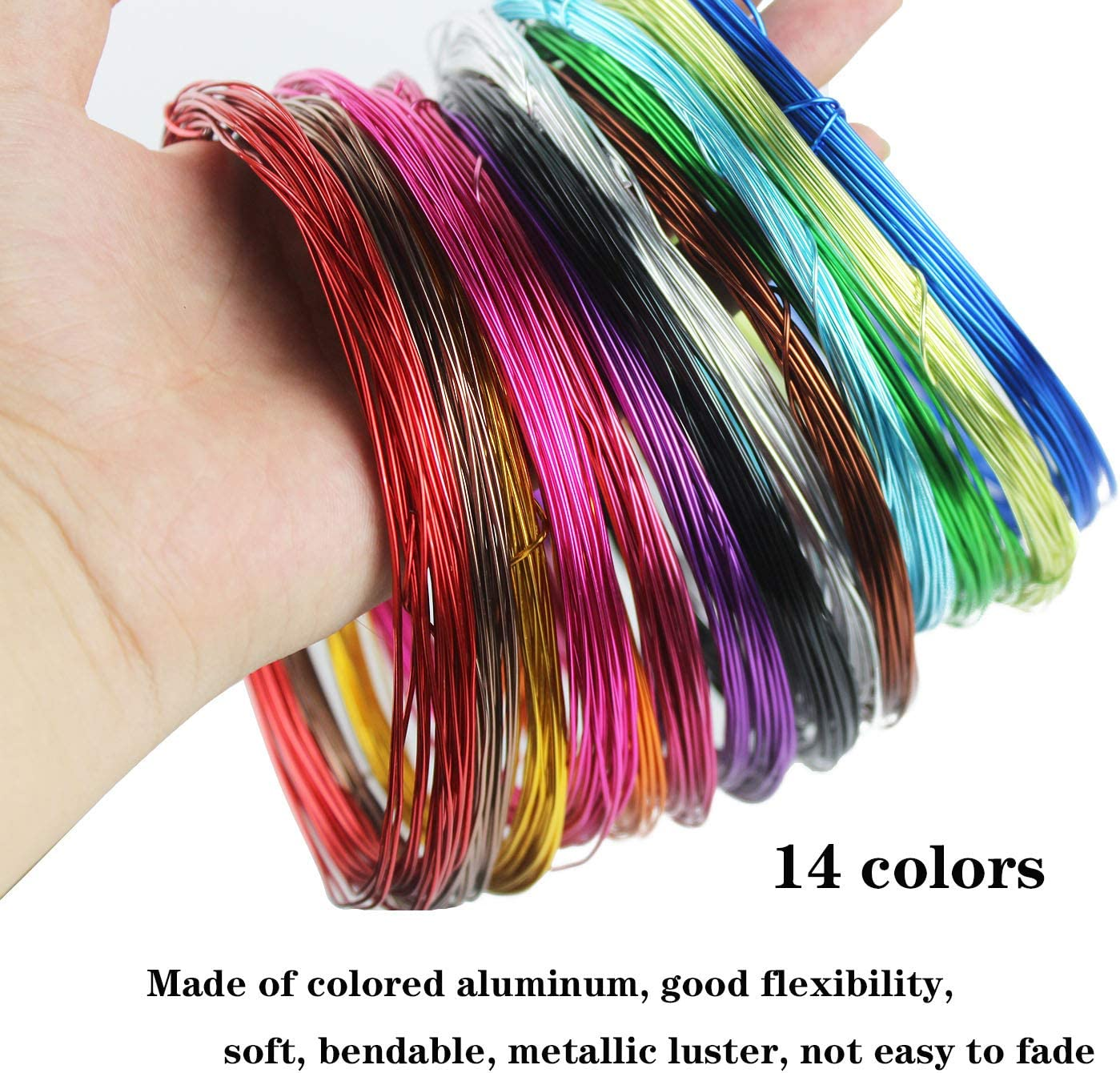 Each Roll 32.8 Feet 14 Colors 14 Rolls 459 Feet Colored Aluminum Craft Wire 1mm Flexible Metal Artistic Floral Jewelry Beading Wire