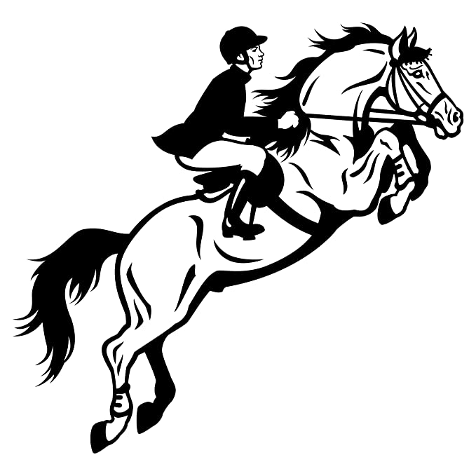 Amazon Com Detailed Racing Horse With Rider Wall Decal In Black
