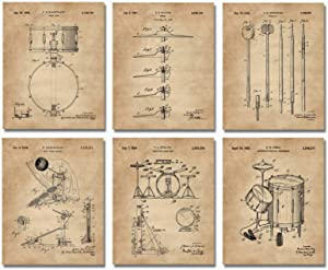 Set of 6 Drum Patent Prints (8x10) Wall Art Drummer Gifts Room Decor Music Poster Percussionist Snare UNFRAMED