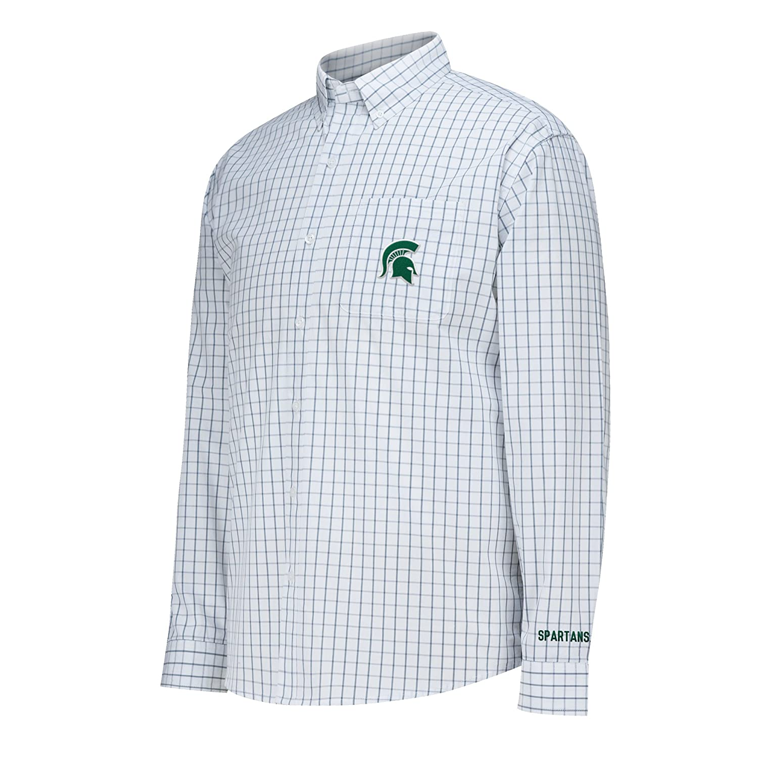 White Large J America NCAA Michigan State Spartans Mens No Excuses Woven Shirt