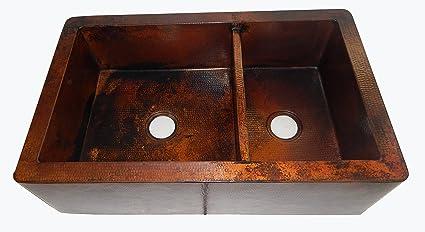 Apron Front Farmhouse Kitchen Double Bowl Mexican Copper Sink 60/40