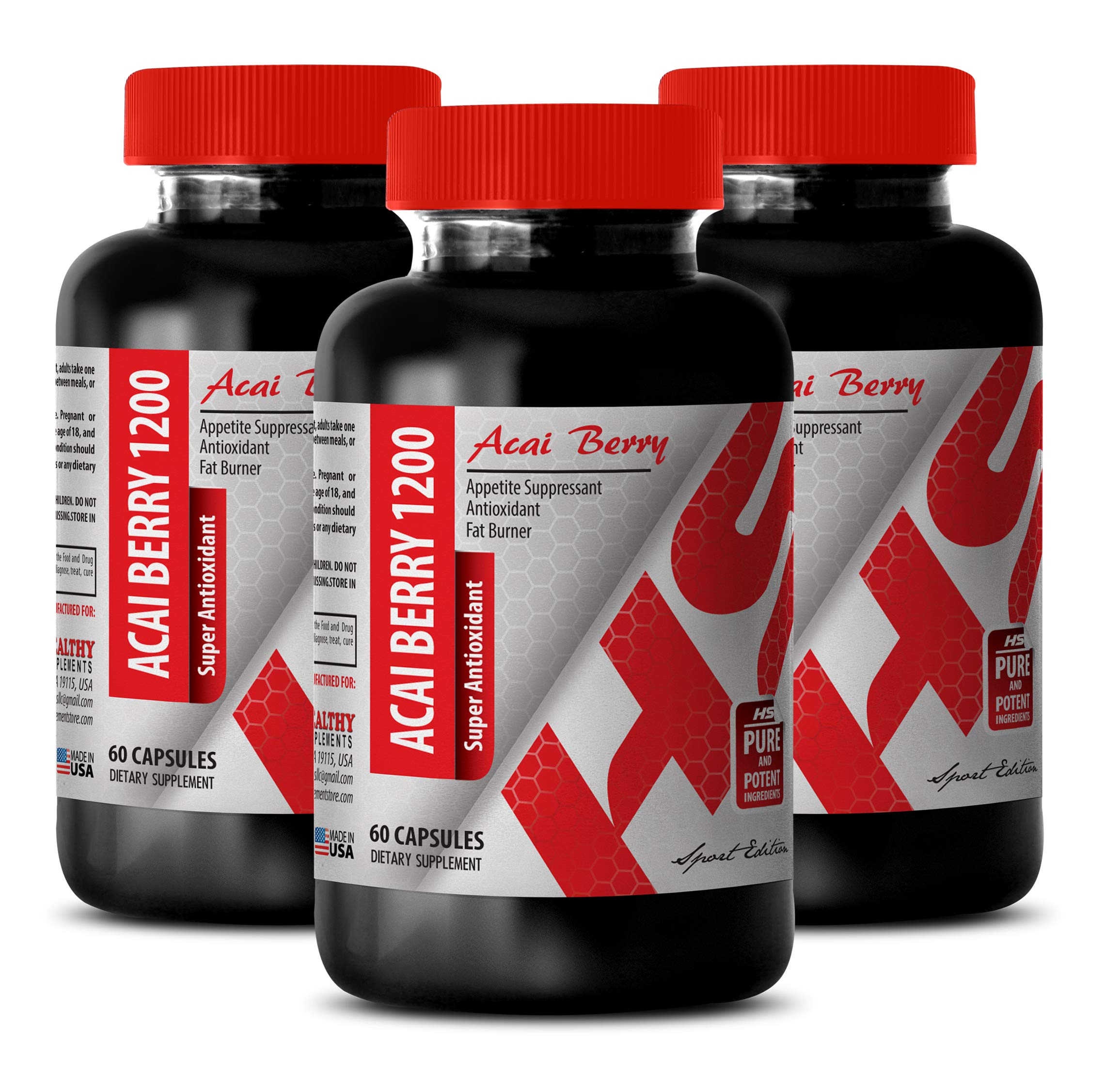 Immune Support Sugar Free - ACAI Berry 1200 MG - Super ANTIOXIDANT - acai Roots Pure acai - 3 Bottles (180 Capsules)