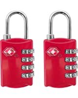 TSA Luggage Locks (2 Pack) - 4 Digit Combination Steel Padlocks - Approved Travel Lock for Suitcases & Baggage