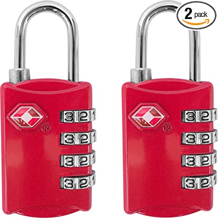 ab686e48946d TSA Luggage Locks (2 Pack) - 4 Digit Combination Steel Padlocks - Approved  Travel Lock for Suitcases & Baggage - Red