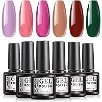 TOMICCA Gel Nail Polish Set 6 Colors Red Green Pink Gel Polish Soak Off UV/LED Lamp Gel Polish Fall Autumn Nail Art…