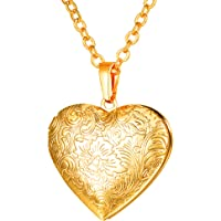 U7 Women Girls Heart Shaped Platinum/Gold/Rose Gold Plated Locket Pendant Necklace