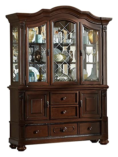 Amazoncom Licona Traditional Buffet Hutch In Brown Cherry