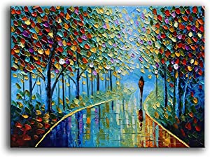 YaSheng Art -Landscape Oil Painting On Canvas Textured Tree Abstract Contemporary Art Wall Paintings Handmade Painting Home Office Decorations Canvas Wall Art Painting 24x36inch