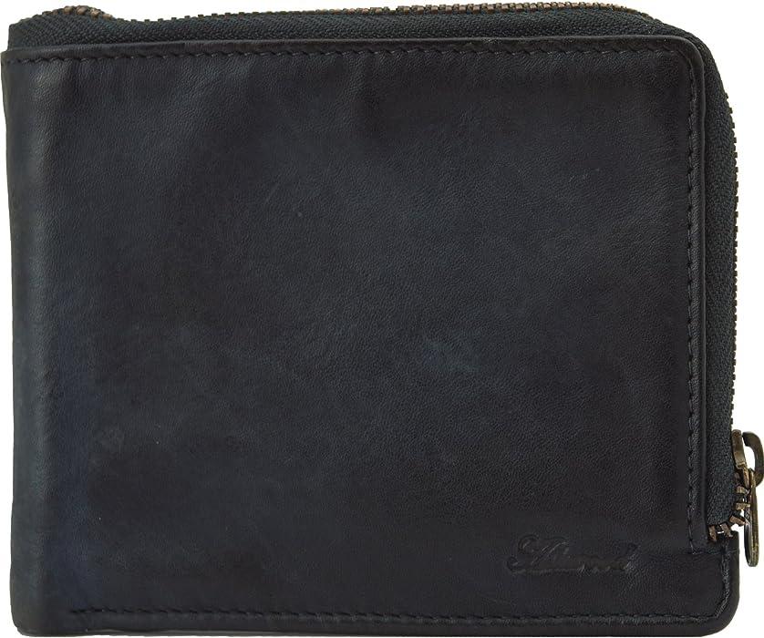 b22ac4e95109d Ashwood Spitalfields Vintage Zip Round Men s Luxury Leather Wallet Tan    Navy 1362 Navy at Amazon Men s Clothing store