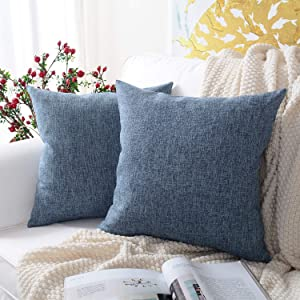MERNETTE Pack of 2, Linen Decorative Square Throw Pillow Cover Cushion Covers Pillowcase, Home Decor Decorations for Sofa Couch Bed Chair 20x20 Inch/50x50 cm (Purple Blue)