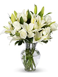 Benchmark Bouquets White Roses and White Oriental Lilies, With Vase (Fresh Cut Flowers)