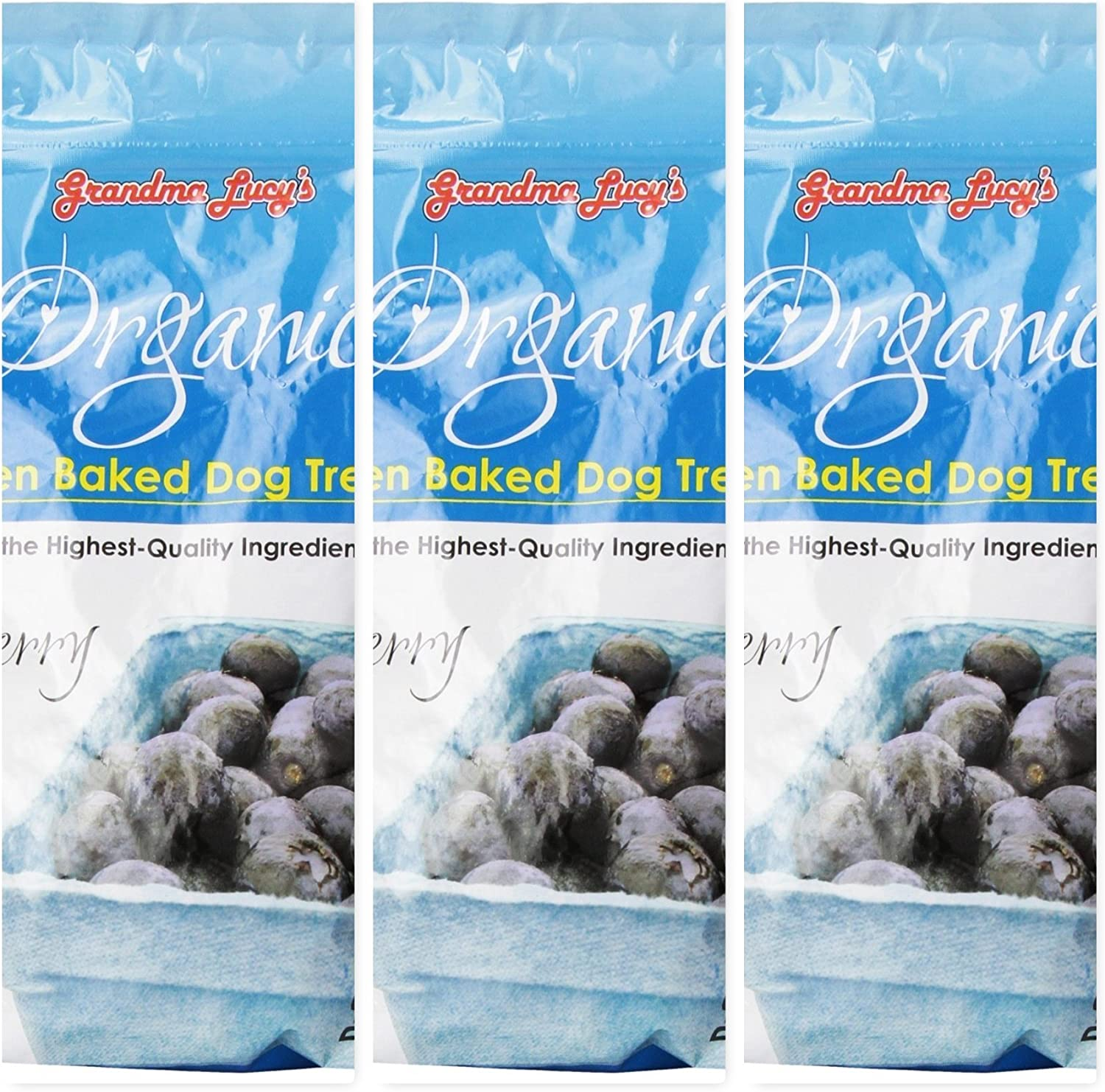 Grandma Lucy's (3 Pack) Organic Oven Baked Blueberry Dog Treats, 14 Ounces each, (Fast Free Delivery) by Just Jak's Pet Market