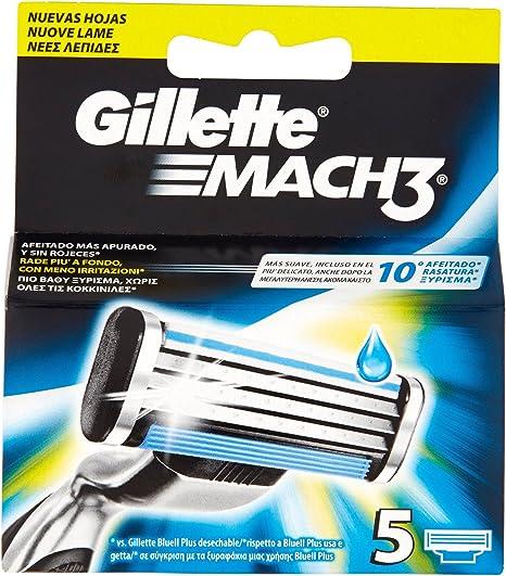 Gillette Mach 3 Recambio de Maquinilla de Afeitar para Hombre 5 ...
