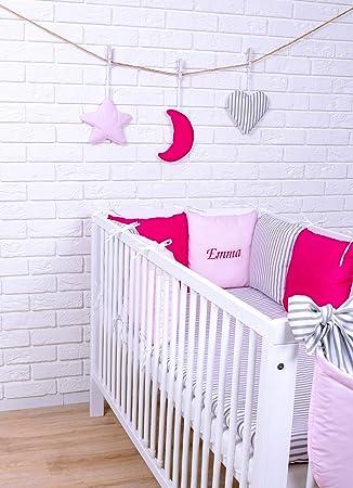 Amilian/® Baby Bettw/äsche Design43 mit Namen und Datum bestickt Nestchen Bettset 100x135 f/ür Babybett Decke Kissen Bettumrandung