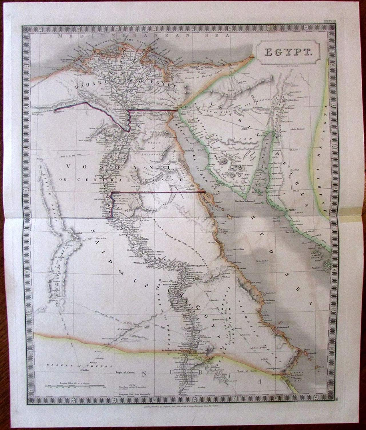 Amazon.com: Egypt Africa c.1829 S. Hall large engraved hand ...
