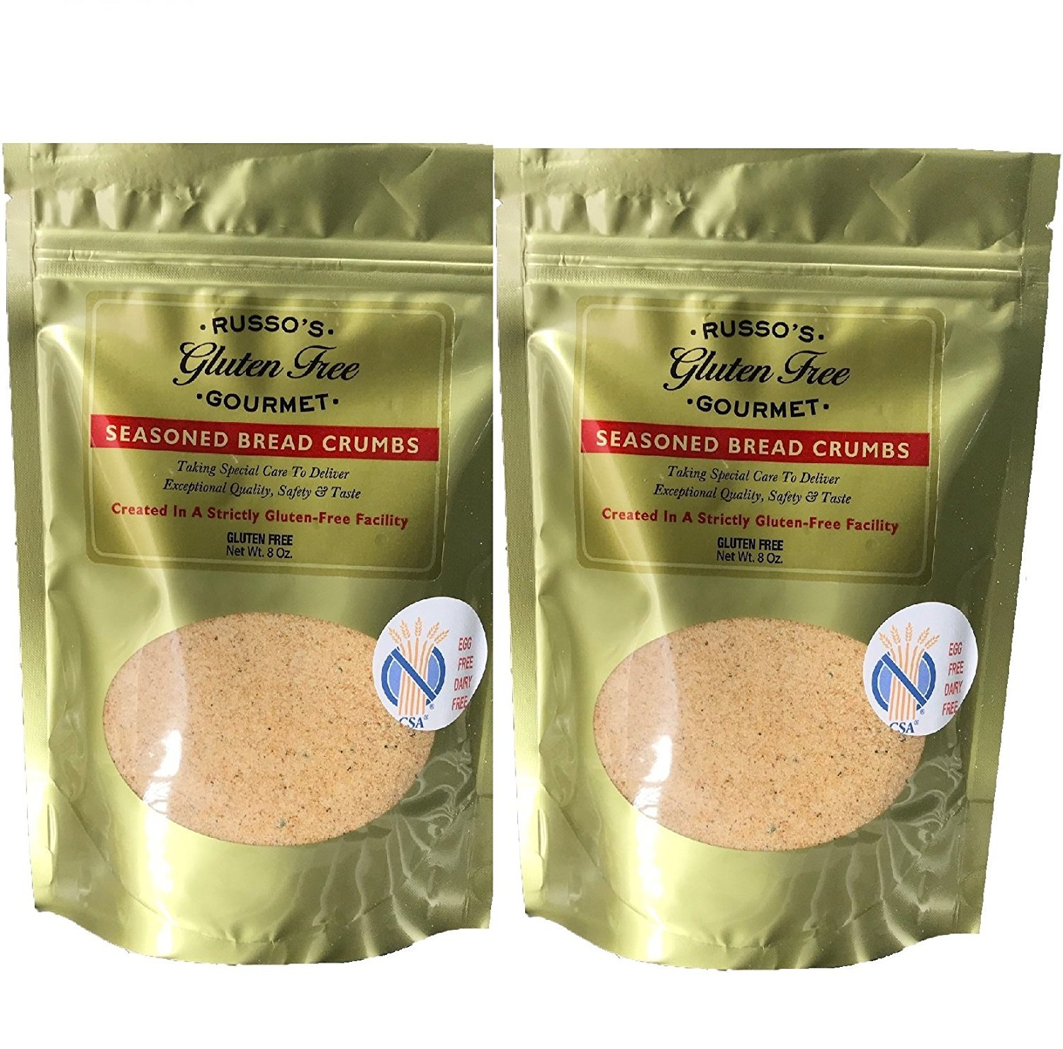 Russo's Gluten Free Bread crumbs (2 Pack X 8 Oz) - Seasoned Absolutely Gluten Free Breadcrumbs -Delicious & Tasty, Made in a strictly Glutenfree Facility by Russo's Gluten Free Gourmet (Image #1)