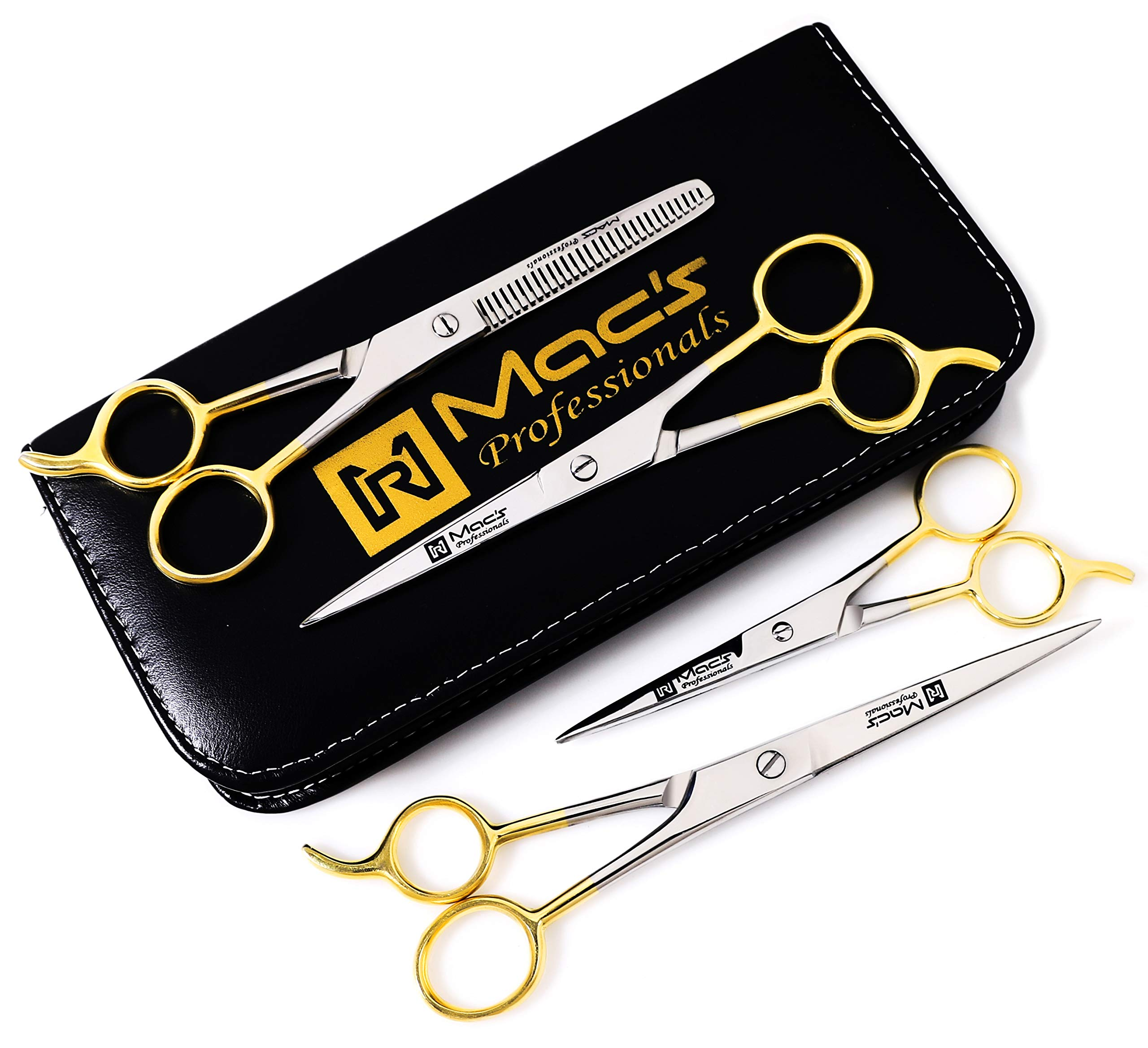 Macs Barber Scissor Hair Cutting Scissors Set Contain 4 Pcs Scissors With Half Gold Plated 5.5'' + 6.5'' +7.5'' With 6.25'' Texturizing /Thinning Shears Set Made Of High Grade Stainles Steel with Free Black Leather Case-15001 by Macs Razor Products (Image #2)