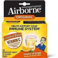 Vitamin C 1000mg - Airborne Zesty Orange Effervescent Tablets (20 count in a box), Gluten-Free Immune Support Supplement…