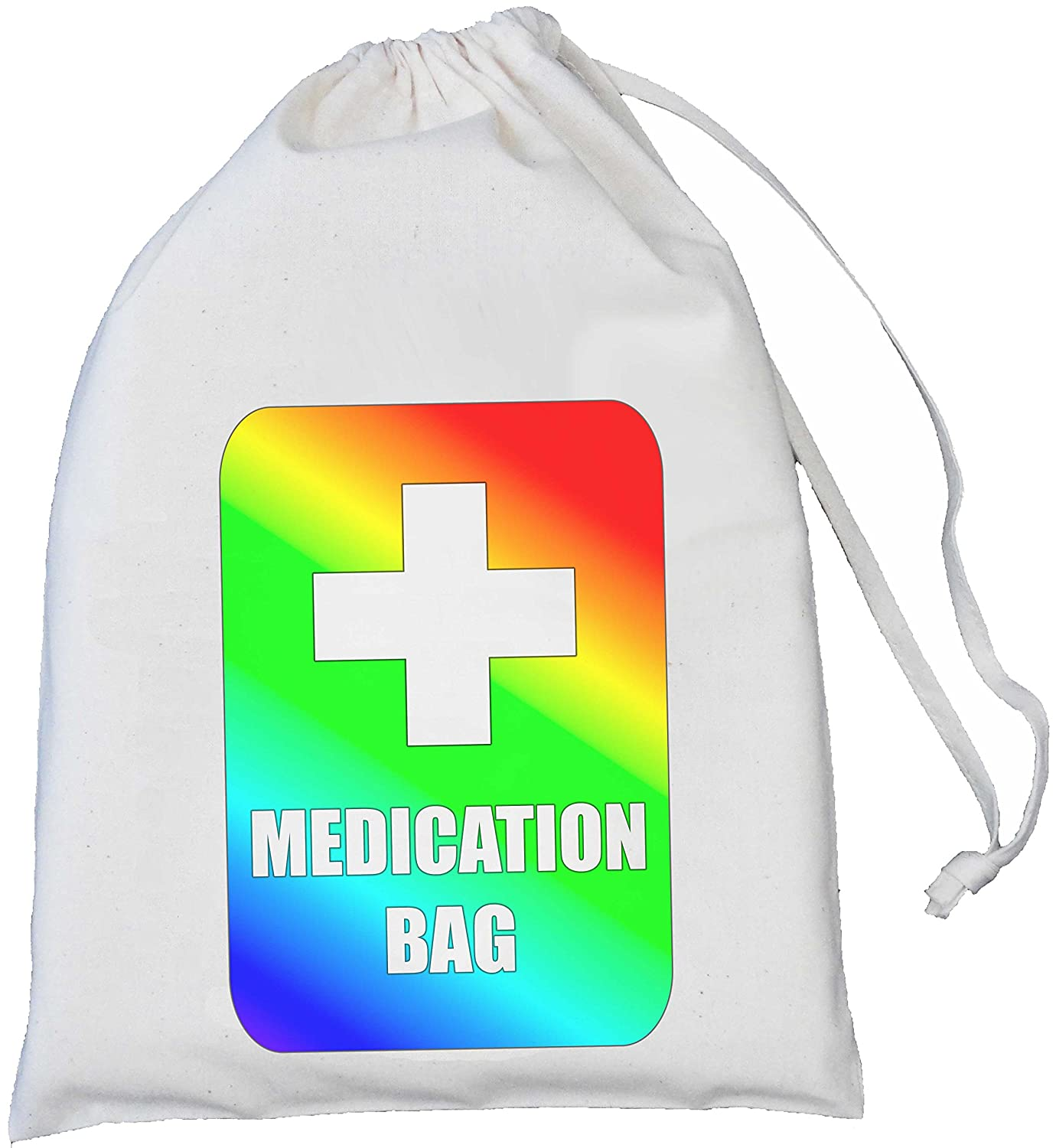 Rainbow Medication Storage Bag - SMALL Natural Cotton Drawstring Bag -25cm x 35cm SUPPLIED EMPTY