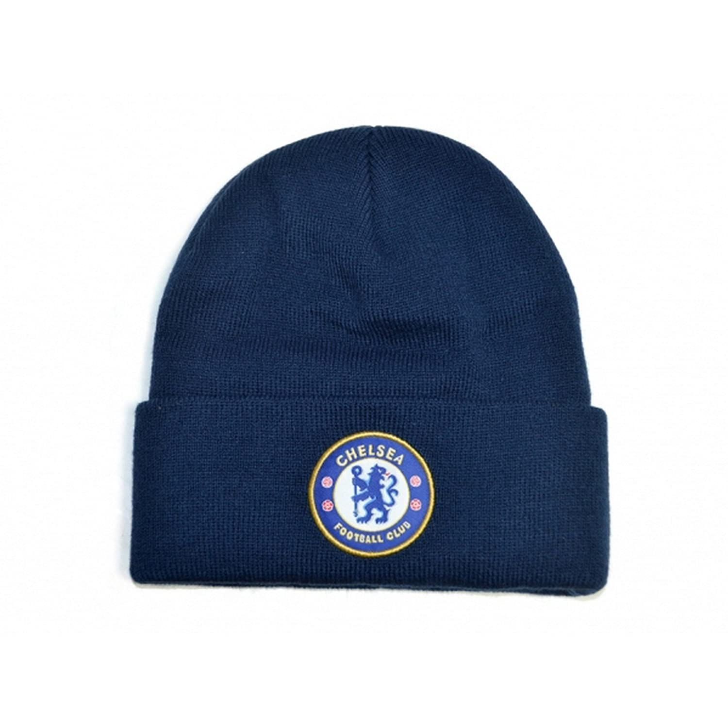 Chelsea FC Official Football Knitted Crest Turn Up Beanie Hat