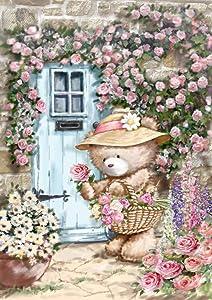 Toland Home Garden Garden Gatherings 12.5 x 18 Inch Decorative Spring Summer Rose Flower Teddy Bear Garden Flag