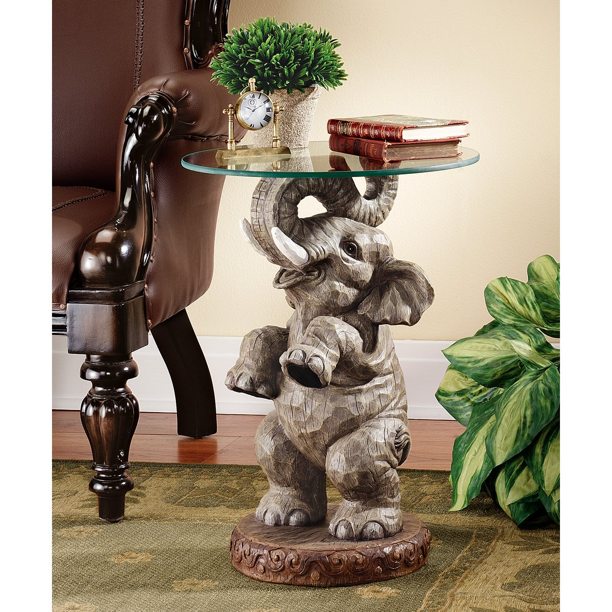 Design Toscano Good Fortune Elephant African Decor Glass Topped Side Table, 21 Inch, Polyresin, Full Color by Design Toscano (Image #2)