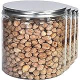 Pack 4 barattolo di plastica alimentare, 0,95 L (12x10cm), contenitori con coperchi in alluminio a vite.