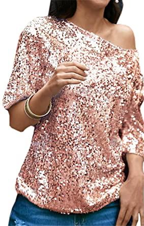 703b1068 JXG-Women One Shoulder Sequin Glitter Sparkle Party Top Blouse Shirt at  Amazon Women's Clothing store: