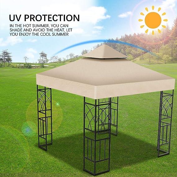 3 * 3m Techo de Reemplazo Carpa Pabellon, Toldo de Repuesto al Aire Libre Jardín Patio Impermeable Refugios de Sol,Doble Capa