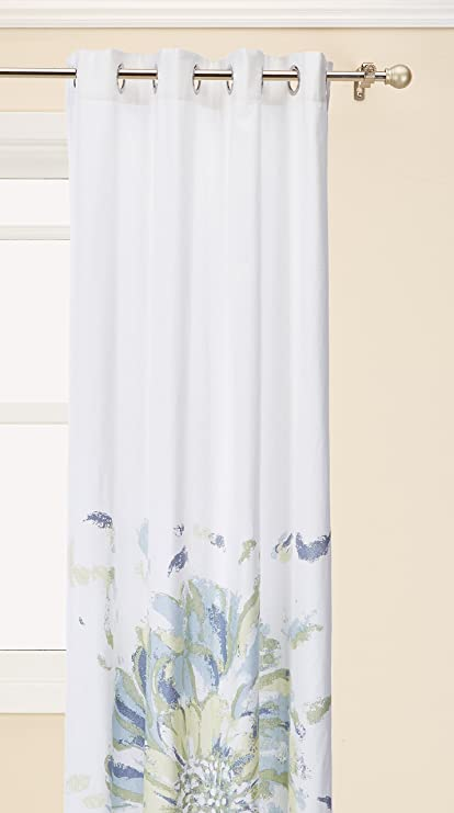 Beau Madison Park Blue Curtains For Living Room, Casual Curtains For Bedroom,  Floral Solange Grommet