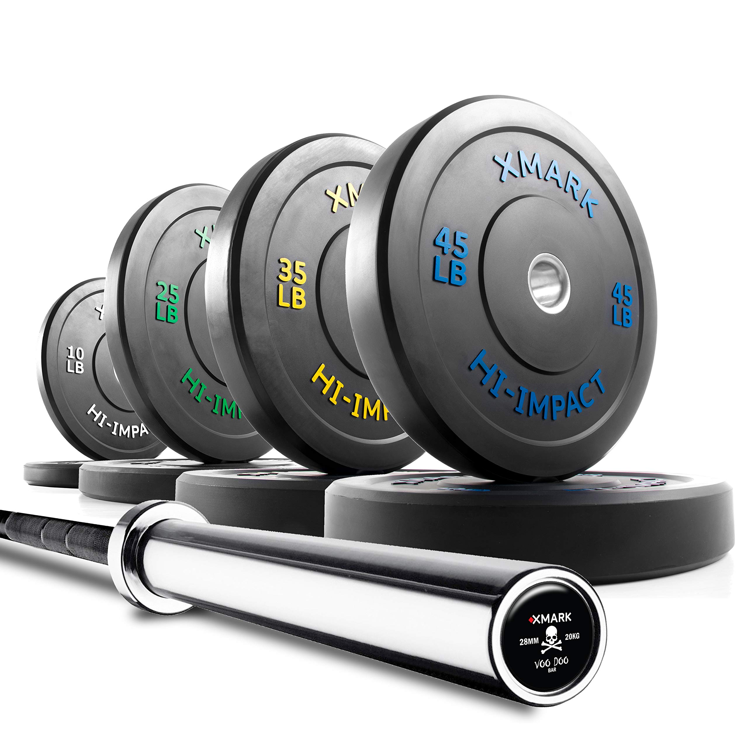 XMark Voodoo Commercial 7' Olympic Bar Plus 230 lbs. of XMark HI-Impact Low Bounce Virgin Rubber Olympic Bumper Plates