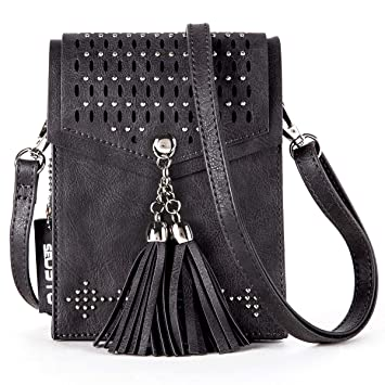 d5d094ecf37 Women Cross Body Phone Bag, SeOSTO Cellphone Bag Wallet Travel Purse with  Tassel and Rivet  Vintage Leather   Amazon.co.uk  Luggage