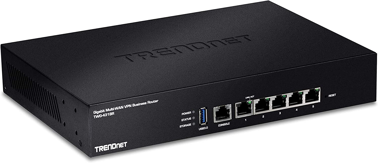 TRENDnet Gigabit Multi-WAN VPN Business Router, TWG-431BR, 5 x Gigabit Ports, 1 x Console Port, QoS, Inter-VLAN Routing, Dynamic Routing, Load-Balancing, High Availability, Online Firmware Updates