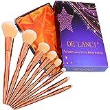 DE'LANCI 8Pcs Pro Luxury Makeup Brush Set Rose Gold With Purple Gift Box