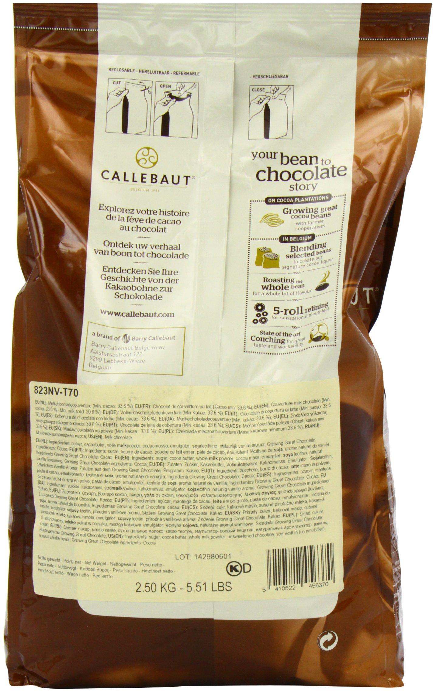 Belgian Milk Chocolate Baking Callets (Chips) - 33.6% - 1 bag, 5.5 lbs by Callebaut (Image #5)