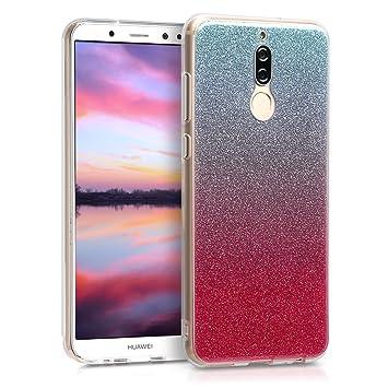 kwmobile Funda para Huawei Mate 10 Lite - Carcasa de [TPU] para móvil y diseño Degradado de Purpurina en [Rosa Fucsia/Plata/Azul Claro]