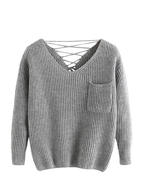 Milumia Women s Double V Lace Up Criss Cross Back Chunky Knit Sweater with  Pocket Grey One 2071be60f