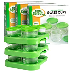 Glass Baby Food Containers (12 Pack) - 2oz Jar Container Includes Lids, Storage Tray, Dry-Erase Marker to Write On Lids - Microwave, Freezer, Dishwasher Safe - BPA & Phthalate Free Baby Food Storage
