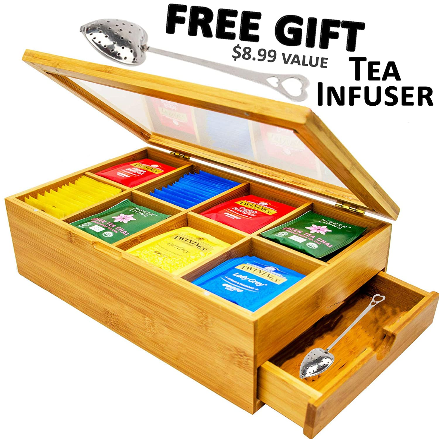 Tea Box 100% Bamboo Tea Box Chest Organizer With Slide Out Drawer, 8 Storage Compartments Clear Shatterproof Hinged Lid By Sugarman Creations SYNCHKG096271
