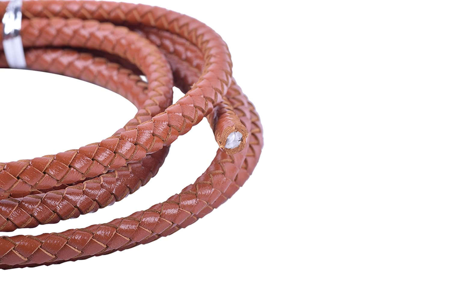 KONMAY 2 Yards 4.0mm Wine Genuine Leather Braided Bolo Leather Cord