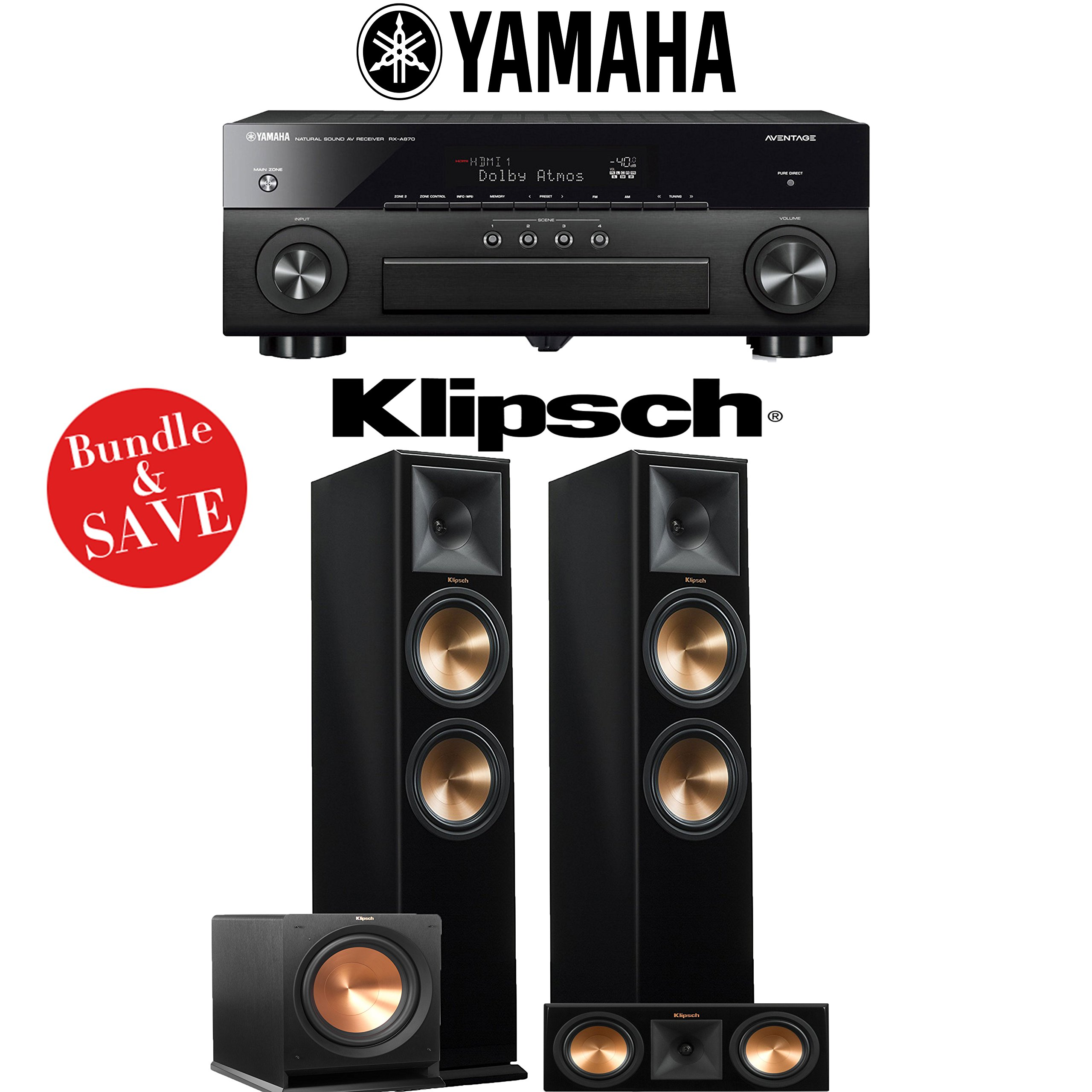 Yamaha AVENTAGE RX-A870BL 7.2-Channel Network A/V Receiver + Klipsch RP-280F + Klipsch RP-250C + Klipsh R-112SW - 3.1-Ch Home Theater Package (Piano Black) by Klipsch