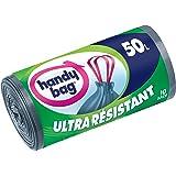 Handy Bag, 355788035353, Sacchetti per la spazzatura ultra resistenti, con maniglie scorrevoli a nastro e chiusura elastica, 50 l, 68 x 73 cm, 2 confezioni (10 saccheti per confezione)