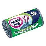 Handy Bag, 10 Sacs Poubelle 50 L, Poignees Coulissantes, Ultra Resistant, Anti-Fuites, 68 x 73 cm, Gris Foncé, Opaque - lot de 2